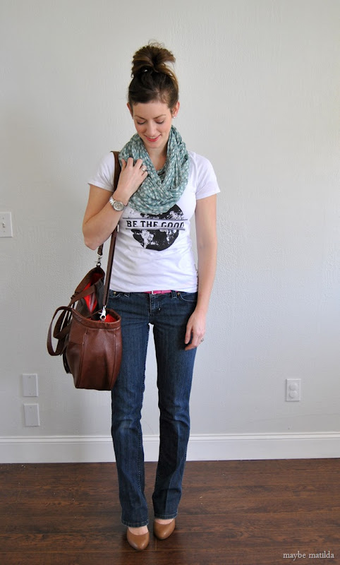 graphic tee + floral scarf +jeans + wedges // www.maybematilda.com