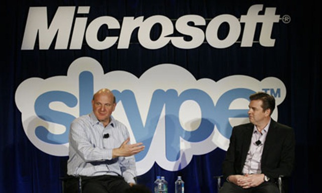 Microsoft CEO Steve Ballmer and Skype CEO Tony Bates (right) discuss the future following Microsoft's purchase of Skype. Photograph: Kimihiro Hoshino/AFP/Getty
