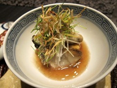 "Soft ""Simmered Abalone"" with ""Grilled Oyster"" in Hot ""Squid Sauce"", Deep-fried ""Egg-tofu"" and ""Variation of Vegetables"""