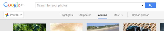 The Google+ Photos screen in a chrome browser