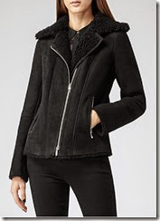 Reiss Black Shearling Jacket
