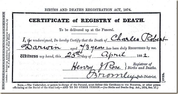 darwin certificado de muerte ateismo