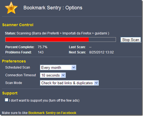 Bookmark Sentry scansione in corso dei segnalibri