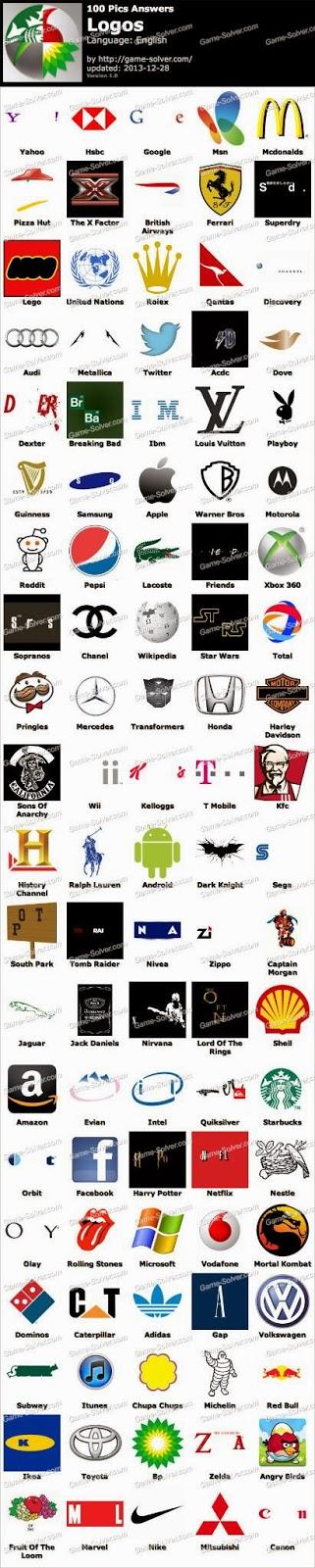 game cheats 100 pics logos answers