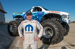 """Mopar Muscle"", driven by Hall Bros Racing driver Mike Miller, joins championship winning trucks ""Raminator"" and ""Ramunition"" for six Monster Jam events in 2014. The Mopar Muscle Monster Truck is a based on a 2014 RAM Heavy Duty truck, and is powered by a 565 cubic inch supercharged version of the famous 426 HEMI engine which celebrates the 50th anniversary of its introduction in 2014."