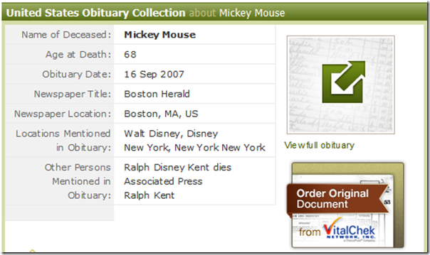Ancestry.com has erroneously posted an obituary of Mickey Mouse.