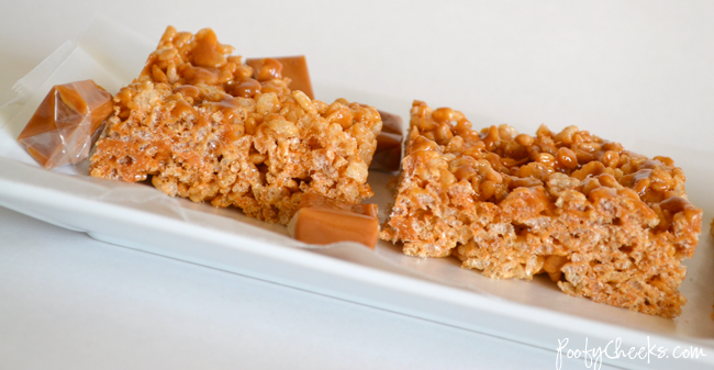 Caramel Vanilla Krispie Treats with Caramel Vanilla Topping by www.poofycheeks.com