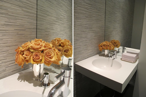 Buttery yellow roses lit up the bathroom. Flowers are an easy and refreshing way to add color in all the unexpected places.