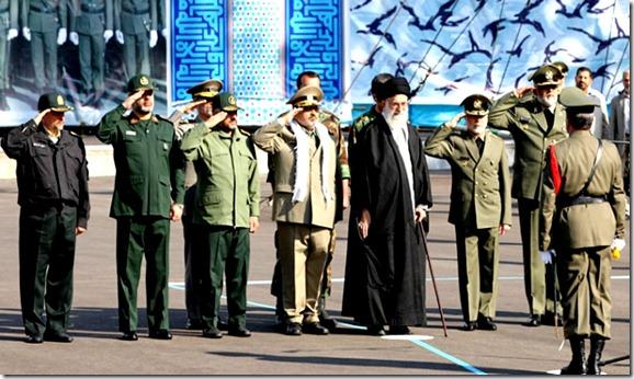 Iran's Supreme Leader Ayatollah Ali Khamenei (4th R) stands with Army commander General Ataollah Salehi (3rd R), Armed Forces Chief of Staff General Hassan Firouzabadi (4th L), Revolutionary Guards commander Mohammad Ali Jafari (3rd L) and Defence Minister Ahmad Vahidi (2nd L) during a graduating ceremony for Iran's army landforce academy in Tehran November 10, 2011.