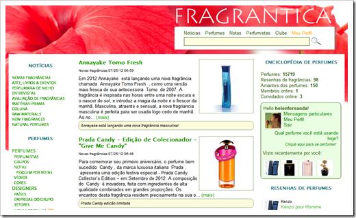 Página inicial do site Fragrantica.com.br