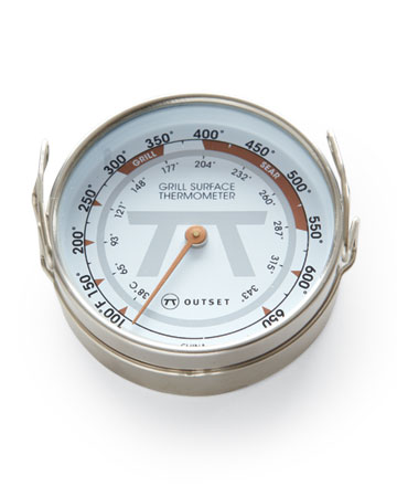 The instant-read surface thermometer (outsetinc.com) indicates when the barbecue is hot enough for warming, grilling, or searing.