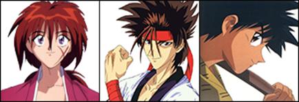 Kenshin, Sanosuke e Yahiko