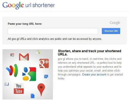 Shorten URLs and create Quick Response code from them | goo.gl