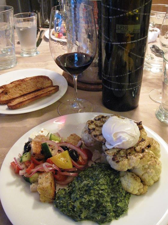 Panzanella Salad, Cauliflower Steak, and Creamed Spinach