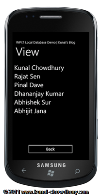 WP7.1 LocalDBDemo - Create View Page UI