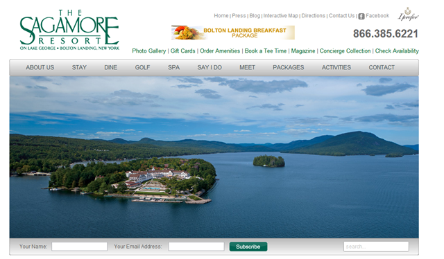 Welcome to The Sagamore Resort on Lake George - Top Menu