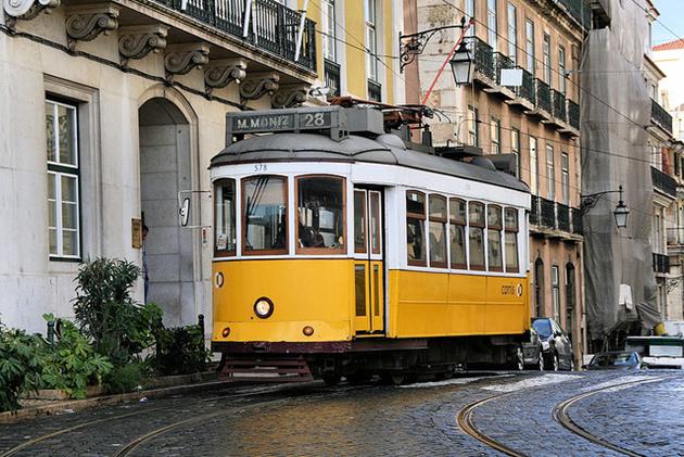 taking a tram in Lisbon