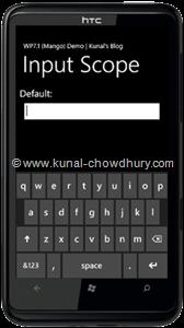 WP7.1 Demo - InputScope (Default)