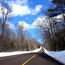 Beautiful drive by Mary Voss - City,  Street & Park  Street Scenes ( blue sky, cold, snow, trees, hwy. )