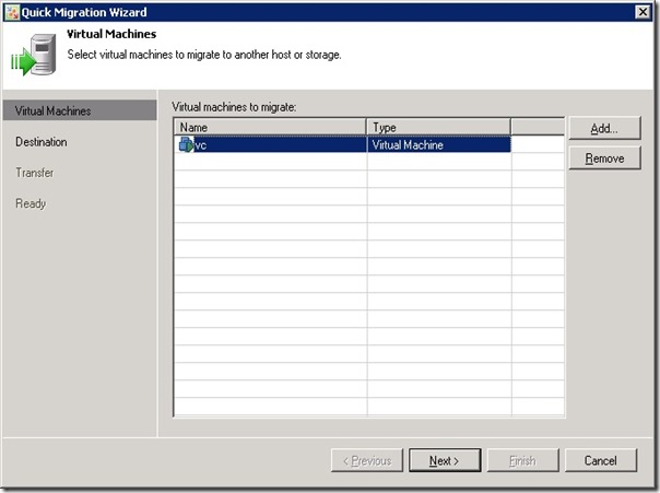 Select VM to migrate
