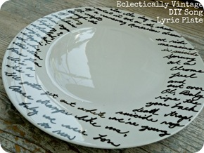 diy song lyric plate