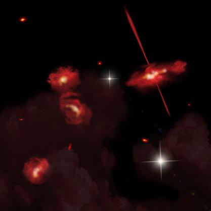 ilustração das galáxias extremamente vermelhas