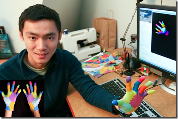 Robert Wang showing his 3D Gloves