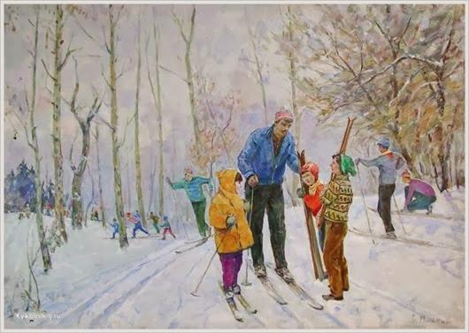 Минский Григорий Семенович (Украина, 1912) «Школьники на лыжной прогулке» 1974