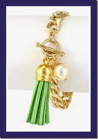 Spring green leather tassel and pearl chain link bracelet