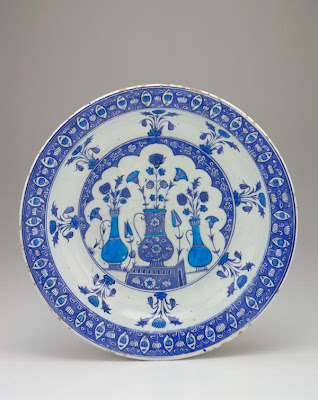 Plate | Origin:  Iznik,  Turkey | Period: 1525-1535  Ottoman period | Details:  Not Available | Type: Stone-paste body painted under glaze | Size: H: 6.8  W: 37.6  cm | Museum Code: F1955.8 | Photograph and description taken from Freer and the Sackler (Smithsonian) Museums.