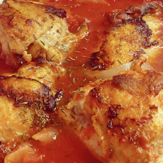Braised Chicken Thighs with Tomatoes and Garlic