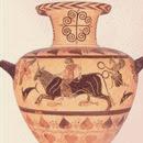 Hidria etrusca. Museo de la Villa Giulia. Roma. Siglo VI a C. Figura negra sobre fondo rojo. Arte arcaico.