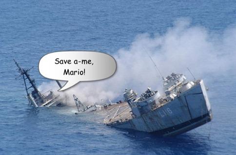 mario sinking ship