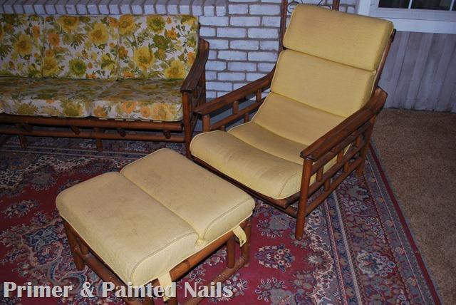 Bamboo Chair & Ottoman Before