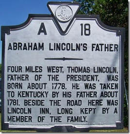 Abraham Lincoln's Father Marker A-18 in Rockingham Co. VA