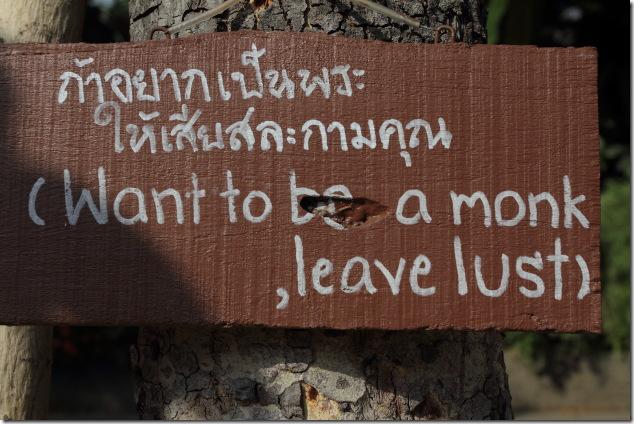 Signboard at Wat Chedi Luang, Chiang Mai, Thailand