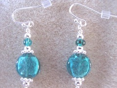 Cape blue turquoise and silver earrings