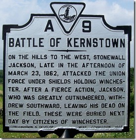 Battle of Kernstown marker A-9 in Frederick Count, VA