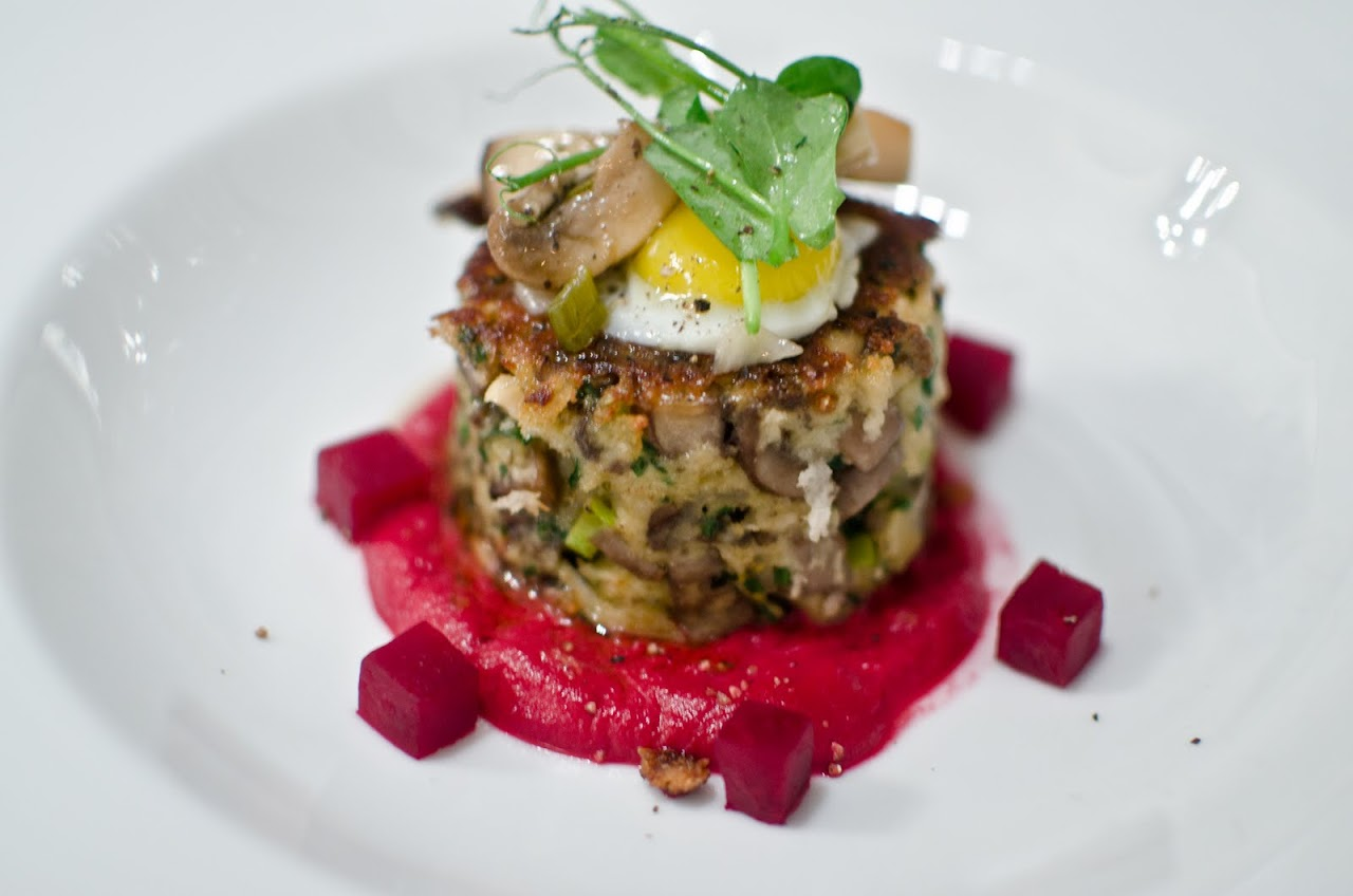 Mushroom cake with beet relish