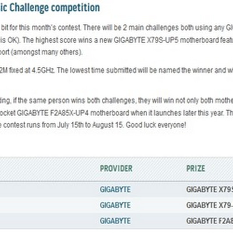 GIGABYTE Classic Challenge competition under way at HWBOT!