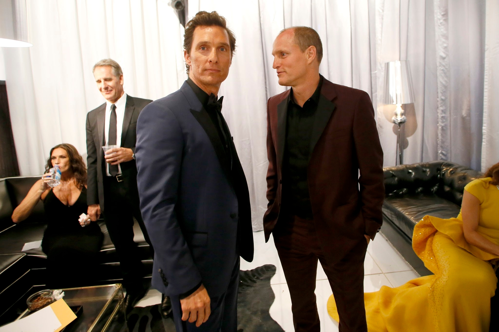 Woody Harrelson And Matthew McConaughey At The 66th Primetime Emmy Awards Aug 25