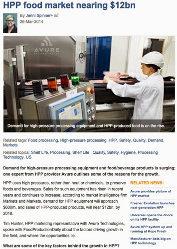 Food safety and quality drive demand for high pressure processing