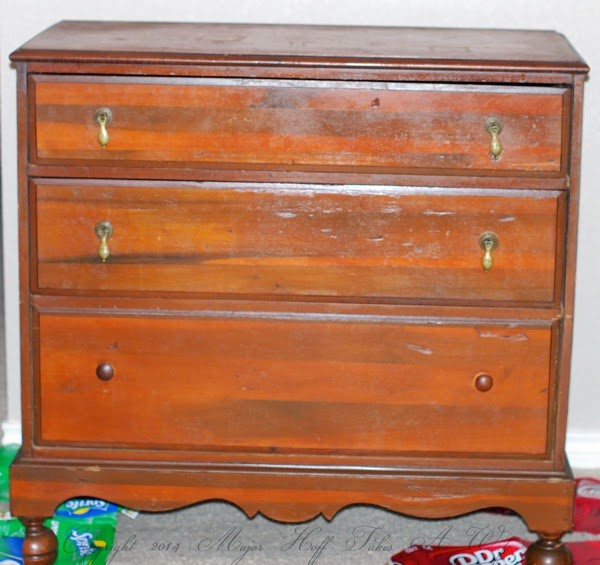 Damaged dresser before milk paint