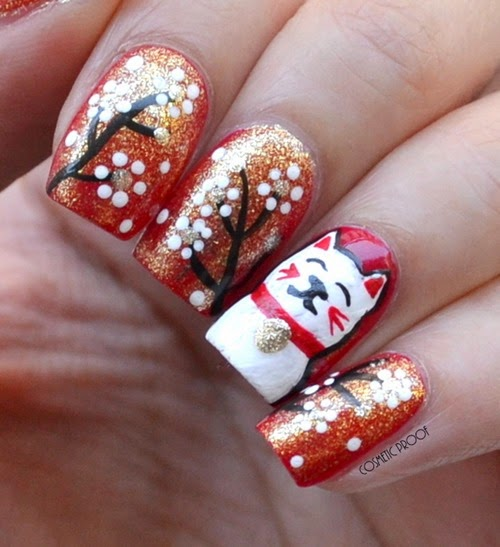 Chinese new year gettin lucky cat with revlons transforming revlon transforming effects in gold glaze chinese new year lucky cat nail art review swatch prinsesfo Choice Image