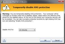 Mematikan antivirus AVG untuk sementara
