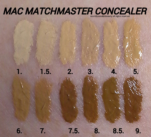 MAC MatchMaster Concealer Stick; Review & Swatches of Shades #1, #1.5, #2, #3, #4, #5, #6, #7, #7.5, #8, #8.5 #9