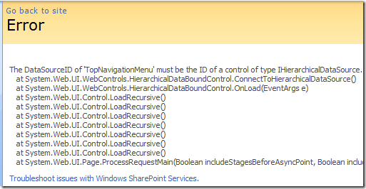 Common SharePoint 2007 Error