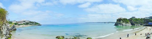 Panoramic view of Newquay beach