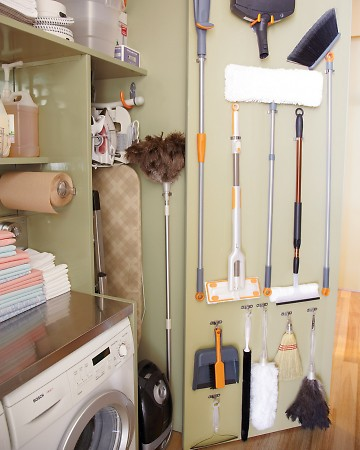 Extendable cleaning tools help you tackle hard-to-reach spots and are also easy to store. I fit my closet at home with nine-foot doors, which store my cleaning supplies when not in use and expand to reach my 12-foot ceilings when needed.
