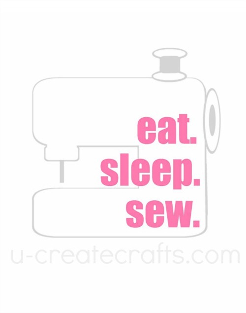 Free Printable Eat. Sleep. Sew. {Pink Gray}